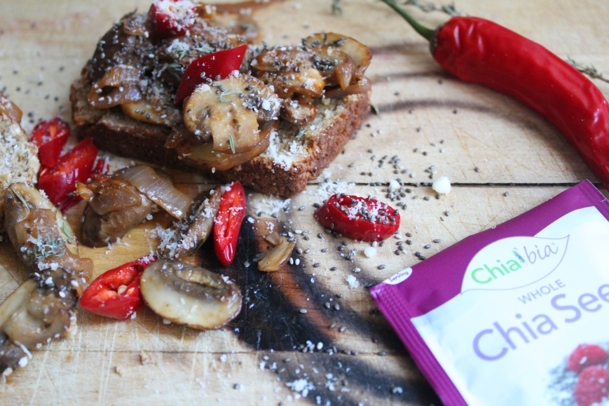 Mushroom Toastie with Onion, Chilli and Chia Seeds
