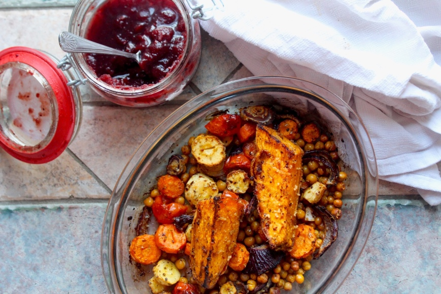 Roasted Root Vegetables and Chickpeas with Cranberry Sauce